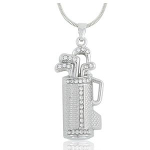 GOLF Clubs Bag Crystal Silver Pendant Necklace NEW